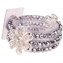 Diamond Rose Corsage Bracelet - Silver