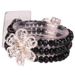 Diamond Rose Corsage Bracelet - Black