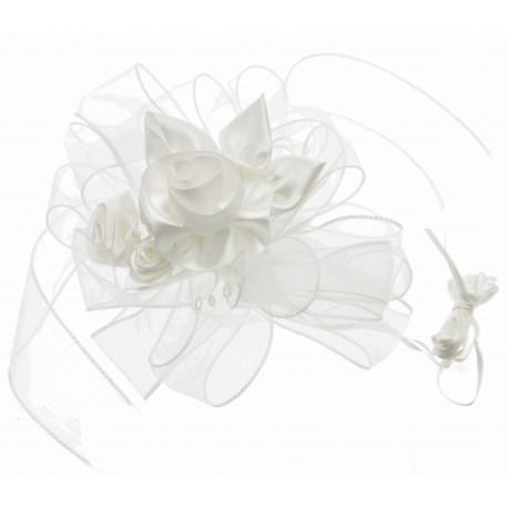 Belle Wedding Pull Bow with Foam Arrangement - White (4cm X 2.5m, 12 pcs per pk)