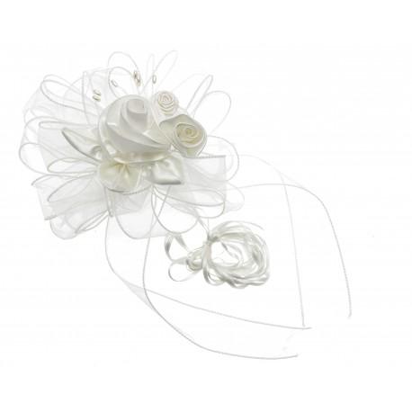 Belle Wedding Pull Bow with Foam Arrangement - Cream (4cm X 2.5m, 12 pcs per pk)