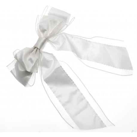 Celine Chair Back Bow - White (27cm, Satin and Organza)