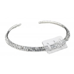 Floral Crystal Necklace Corsage - Silver