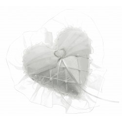Lace Heart Ring Cushion - White  (20cm Diameter)