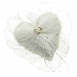 Lace Heart Ring Cushion - Cream (20cm Diameter)