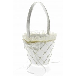 Jasmine Flower Girl Basket - Cream (26cm height x 13 diameter)