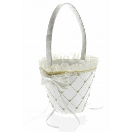 Jasmine Flower Girl Basket - Cream