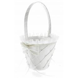 Jasmine Flower Girl Basket - White (26cm height x 13 diameter)