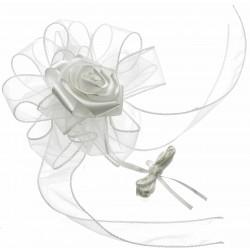 Venice Wedding Pull Bow with Foam Rose - Cream (4cm X 2.5m, 12 pcs per pk)