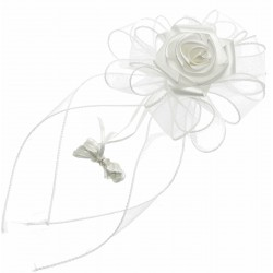 Venice Wedding Pull Bow with Foam Rose - White (4cm X 2.5m, 12 pcs per pk)