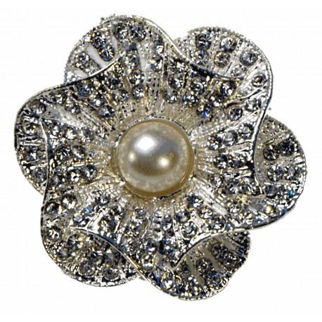 Cupcake Brooch Pin - Silver and Cream (15cm Pin)
