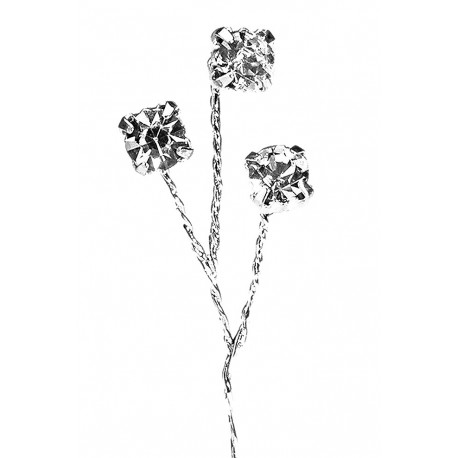 Kara's Kisses - Regal Rhinestones Silver Floral Pick (Pack of 6)