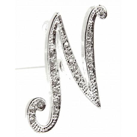Monogram Letters N - Silver (15cm pin)