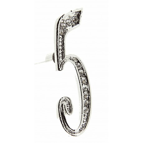 Monogram Numbers 5 - Silver (15cm pin)