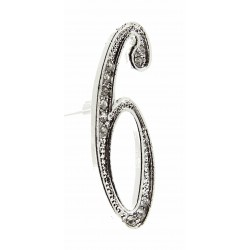 Monogram Numbers 6 - Silver (15cm pin)