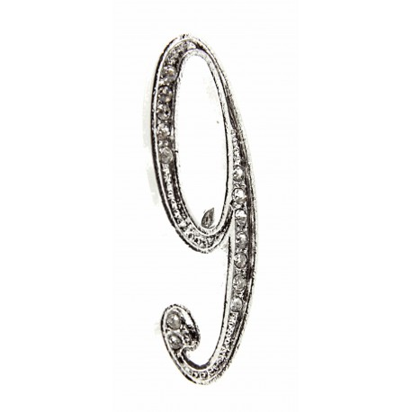 Monogram Numbers 9 - Silver (15cm pin)