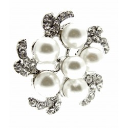 Truffle Brooch Pin - Cream and Silver (15cm Pin)