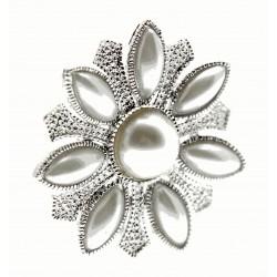Pearl Sunrise Brooch Pin - Cream and