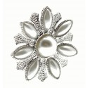 Pearl Sunrise Brooch Pin - Cream and Silver (3cm Diameter, 15cm Pin)