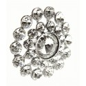 Sparkling Heirloom Brooch Pin - Silver (3cm Diameter, 15cm Pin)