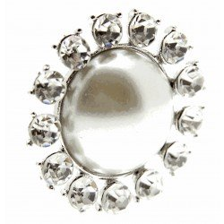 Beaming Pearl Brooch Pin - Cream and Silver (3cm Diameter, 15cm Pin)