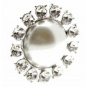 Beaming Pearl Brooch Pin - Cream and Silver (3cm Dia, 15cm Pin)