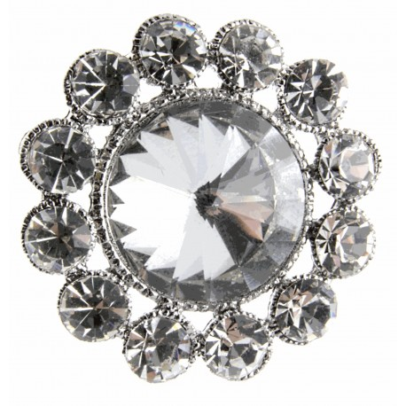 Centre of Attention Brooch Pin - Silver (3cm Diameter, 15cm Pin)