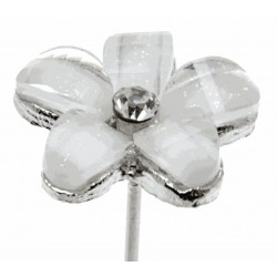 Kara's Kisses - Delightful Silver and Cream Floral Pick (1.5cm Diameter, 3 pieces per pack)