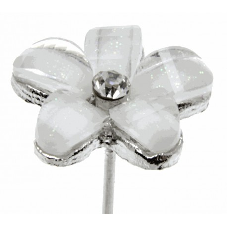 Kara's Kisses - Delightful Silver and Cream Floral Pick (Pack of 3)