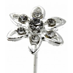 Kara's Kisses - Edelweiss Silver and Black Floral Pick (1cm Diameter, 3 pieces per pack)