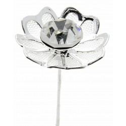 Kara's Kisses - Reflection Silver and Black Floral Pick (Pack of 3)