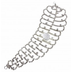 Showgirl Corsage Hair Piece - Silver