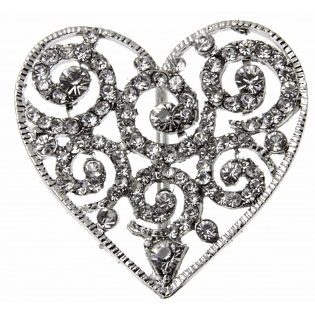 Silver Heart Bouquet Buckle
