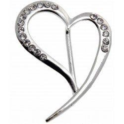Silver Flowing Heart Bouquet Buckle
