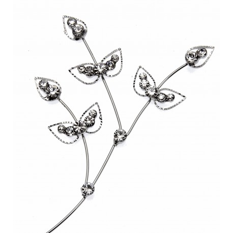 Diamond Ivy Leaf Spray - Silver (22cm long)