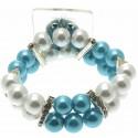 Double Bubble White and Blue Corsage Bracelet
