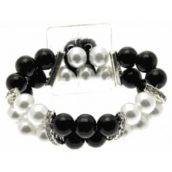 Double Bubble White and Black Corsage Bracelet