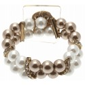 Double Bubble White and Brown Corsage Bracelet