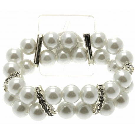 Double Bubble White Corsage Bracelet