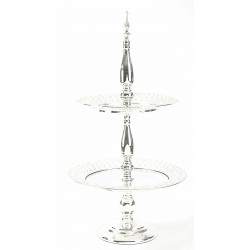 Crystal Double Cake Stand - Silver (35x35x61cm)