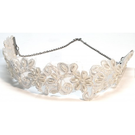 Gatsby Lace Corsage Head Band - Cream