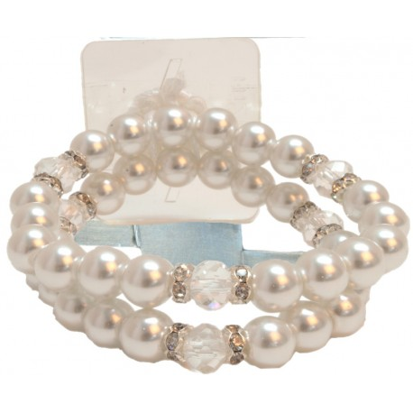 Sweetness Corsage Bracelet - Cream and Clear