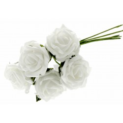 4.5cm Rosebud Bunch - White (5pcs per bunch)