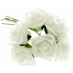 8cm Diameter Rose Bunch - White (6pcs per bunch)