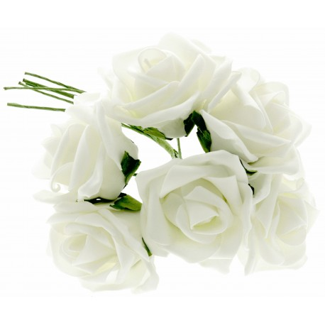 8cm Rose Bunch - White (6pcs per bunch)