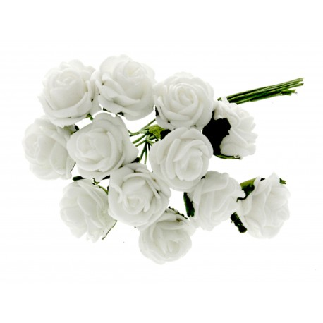 2cm Rose Bunch - White (12pcs per bunch)