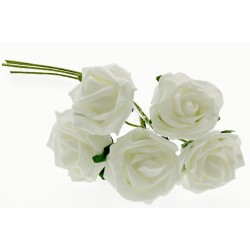 6cm Rose Bunch - Cream (5pcs per bunch)