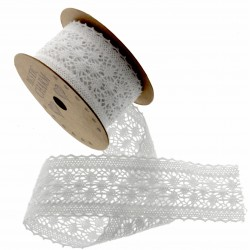 Cotton Lace Ribbon - White (40mm x 3m)