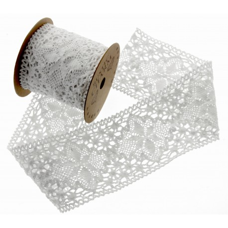 Cotton Lace Ribbon - White (70mm x 3m)