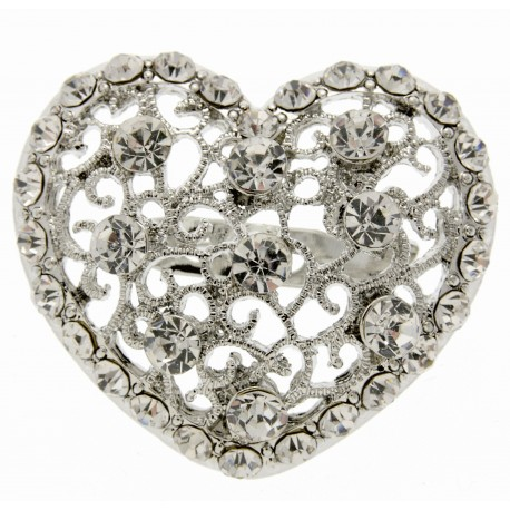 Heart Brooch Pin- Silver (4cm Diameter on 15cm Pin)