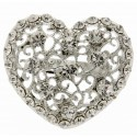 Heart Brooch Pin - Silver (4cm Diameter on 15cm Pin)